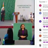 Mujeres se manifiestan, de manera virtual, en el chat de la conferencia matutina de AMLO