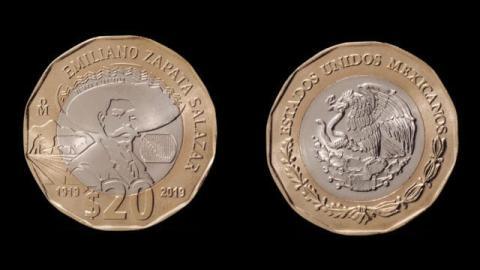 Banxico pone en circulación moneda de 20 pesos por Centenario de la muerte de Emiliano Zapata